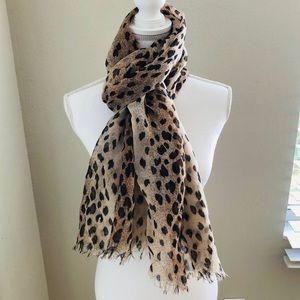 Leopard Print Metallic Thread Scarf Raw Edge